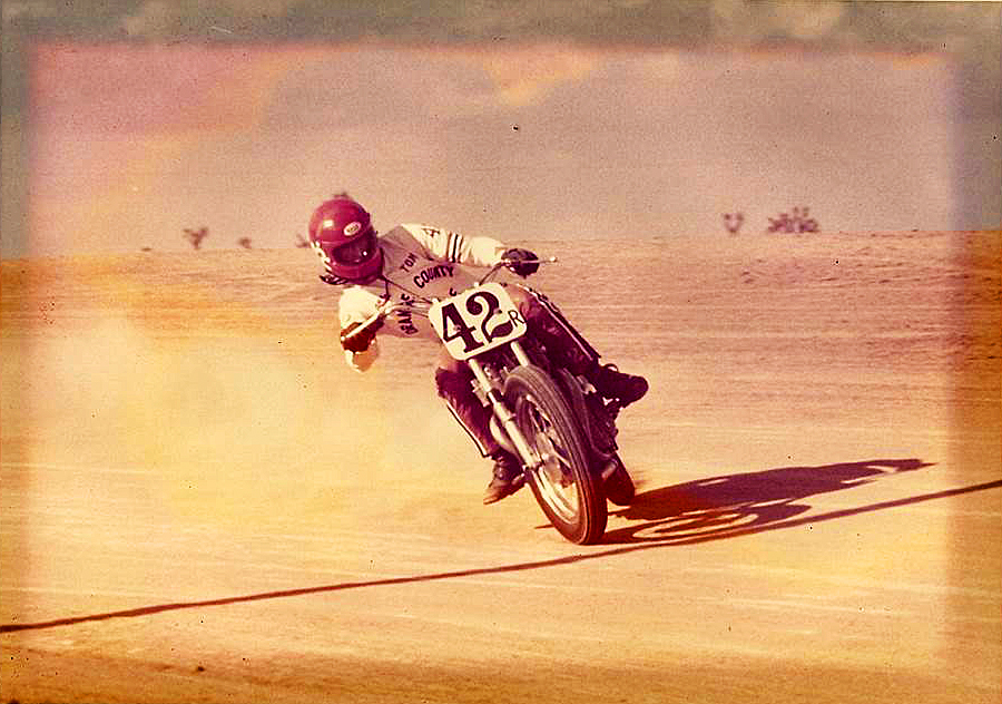 Tom White at Adelanto Raceway in 1973. Winner - Open Expert main.